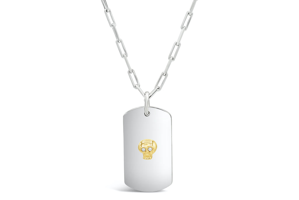 Diamond eye 18kt gold Skull ID Tag Necklace