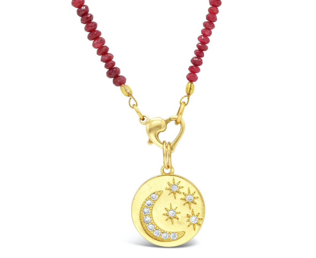 Starry Night Diamond 18kt Moon Pendant on Ruby Necklace