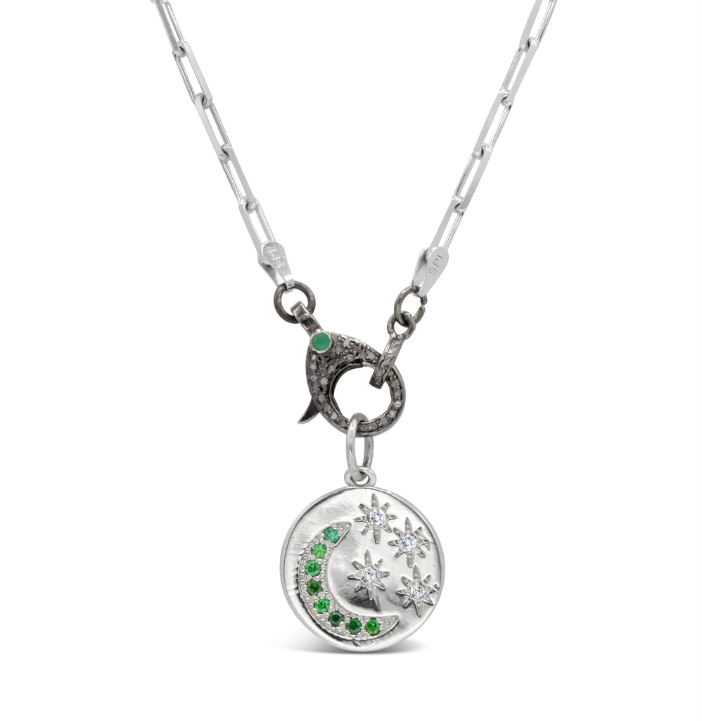 Diamond and Emerald Starry Night Medallion on Emerald and diamond clasp Necklace