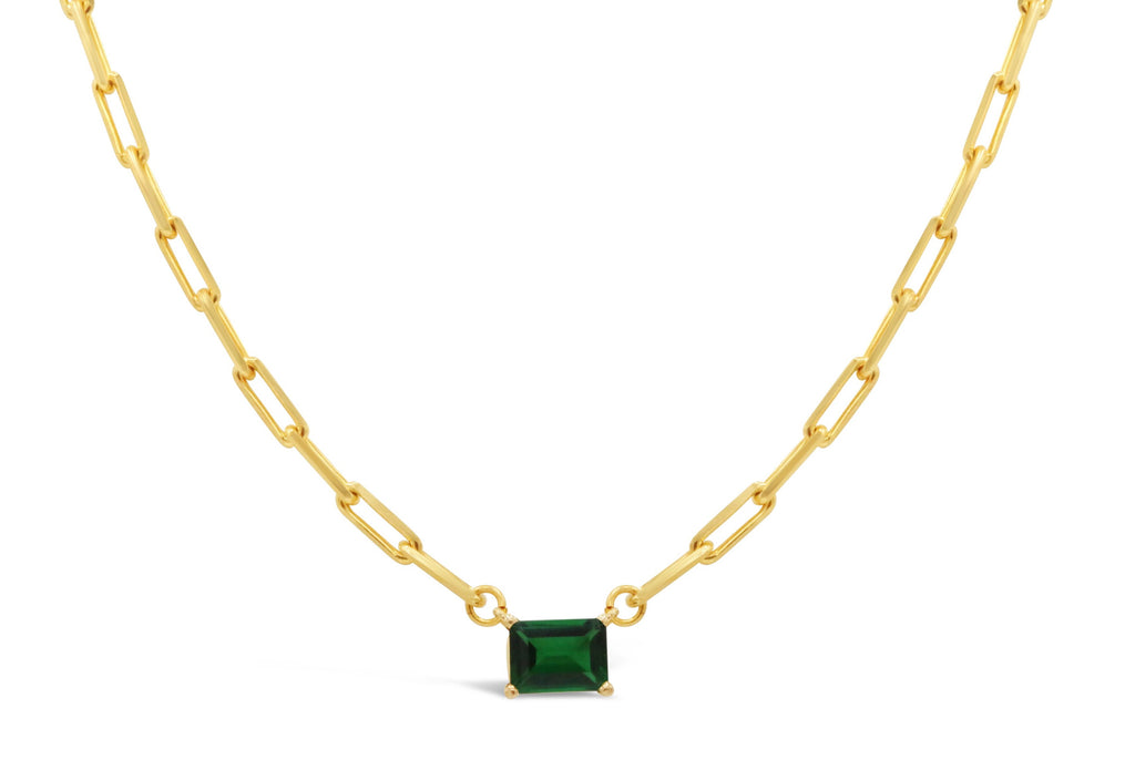 Emerald on 14 kt Gold Paper Clip Chain Necklace