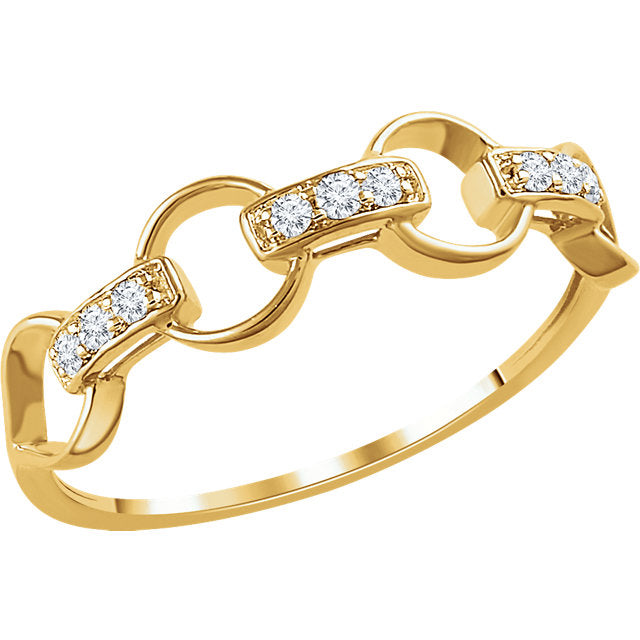 14k Diamond Link Ring