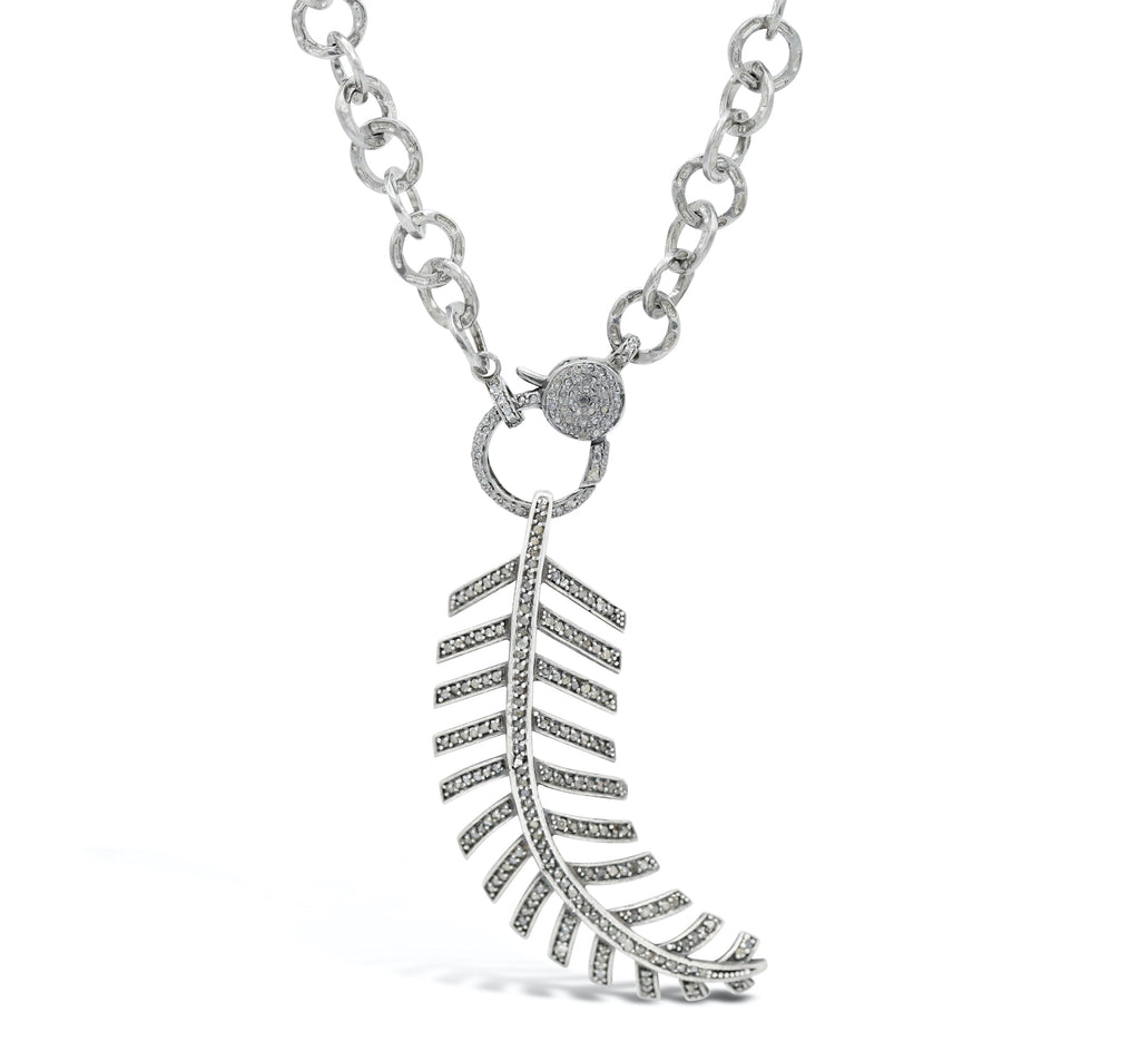 Diamond feather and Diamond Clasp on chain Necklace