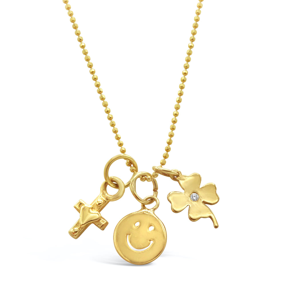 Triple Charm Smiley Face Necklace