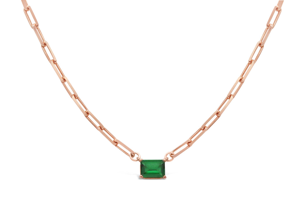 Emerald on Rose Gold Paper Clip Chain Necklace