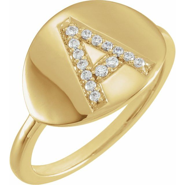 14K Yellow Gold Initial Diamond Ring