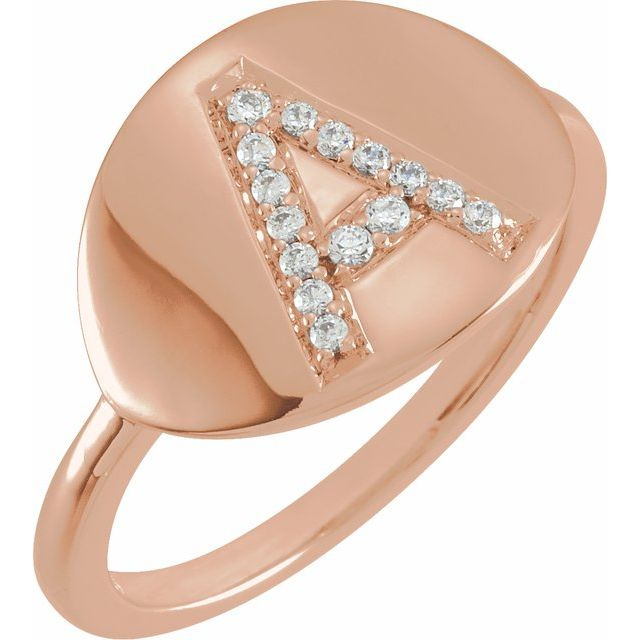 14K Rose Gold Initial Diamond Ring