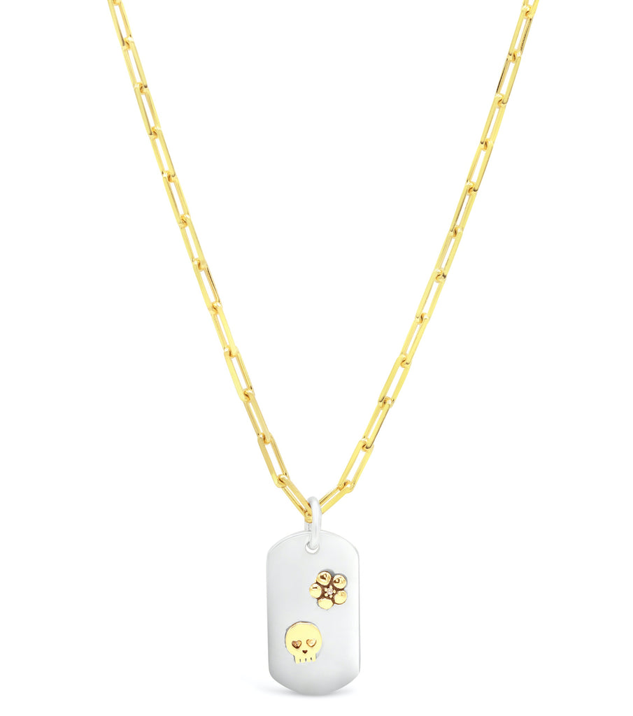 18kt Gold and Diamond Skull and Flower with Sterling Silver Dog Tag Necklace