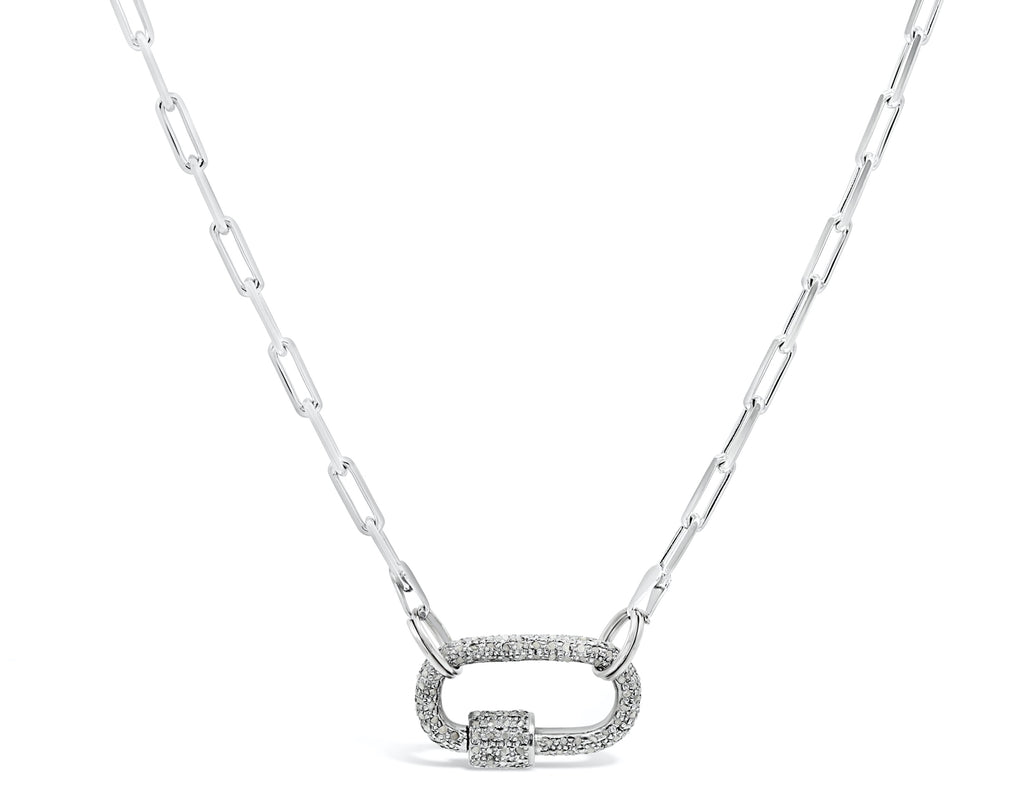 Oval Screw Clasp on Silver Paper Clip Chain Necklace