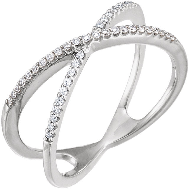 14k Diamond Criss Cross Ring