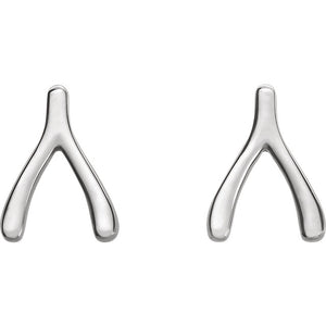14k Gold Wishbone Studs