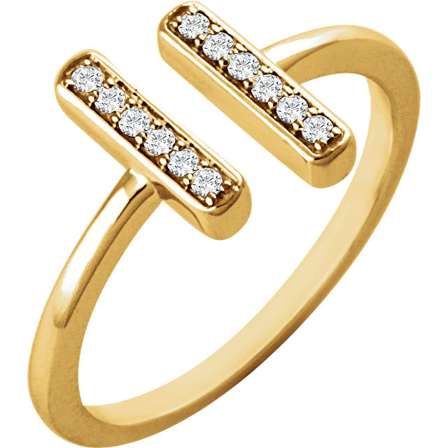 14k Double Bar Diamond Ring