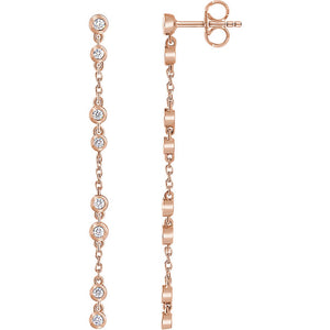 14k Diamond Chain Stud Earrings