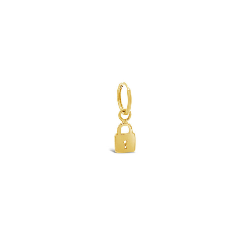 Solitaire Lock Charm Huggie