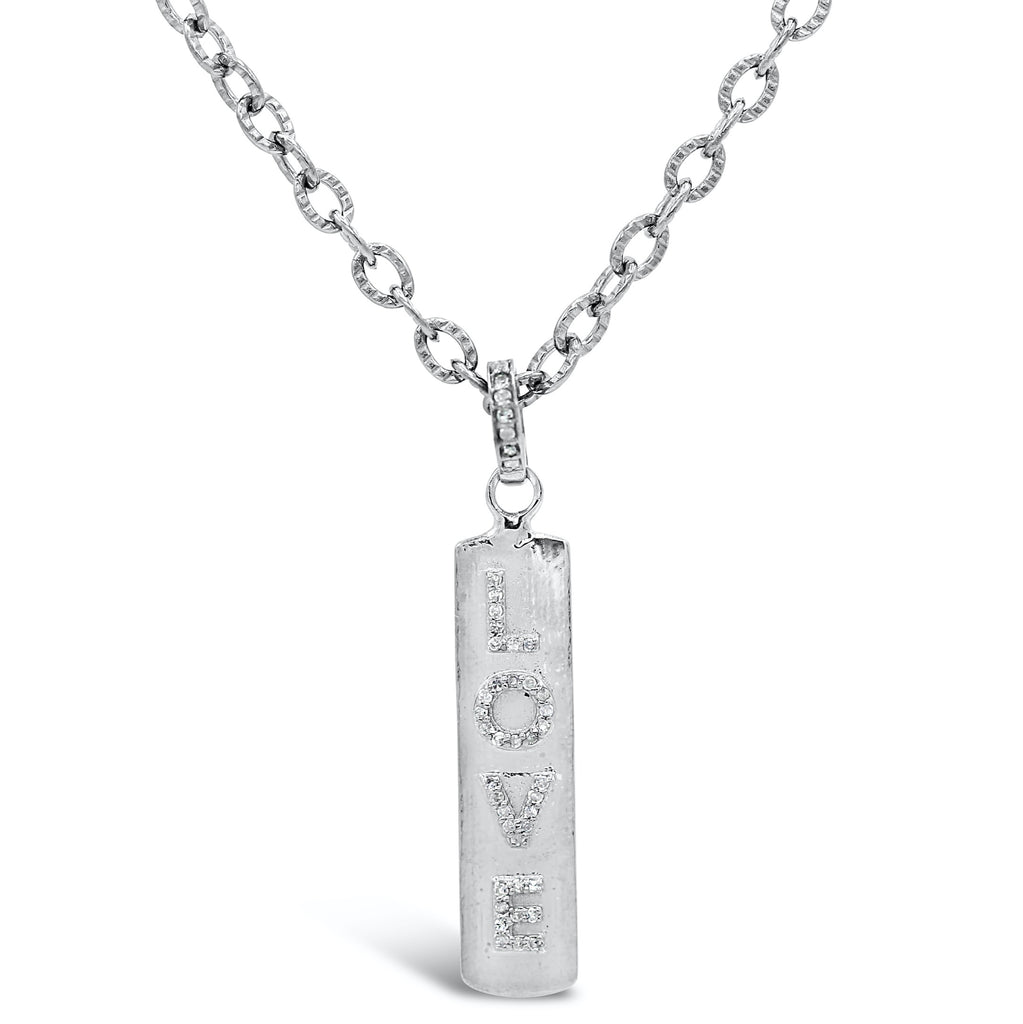 Diamond Love on Silver Hammered Chain Necklace