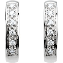 14K 12mm Hinged Diamond Hoop Earrings