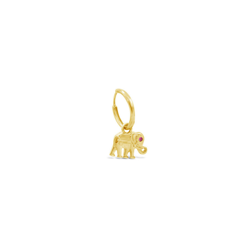 Solitaire Ruby Elephant 'Trunk Up' Charm Huggie