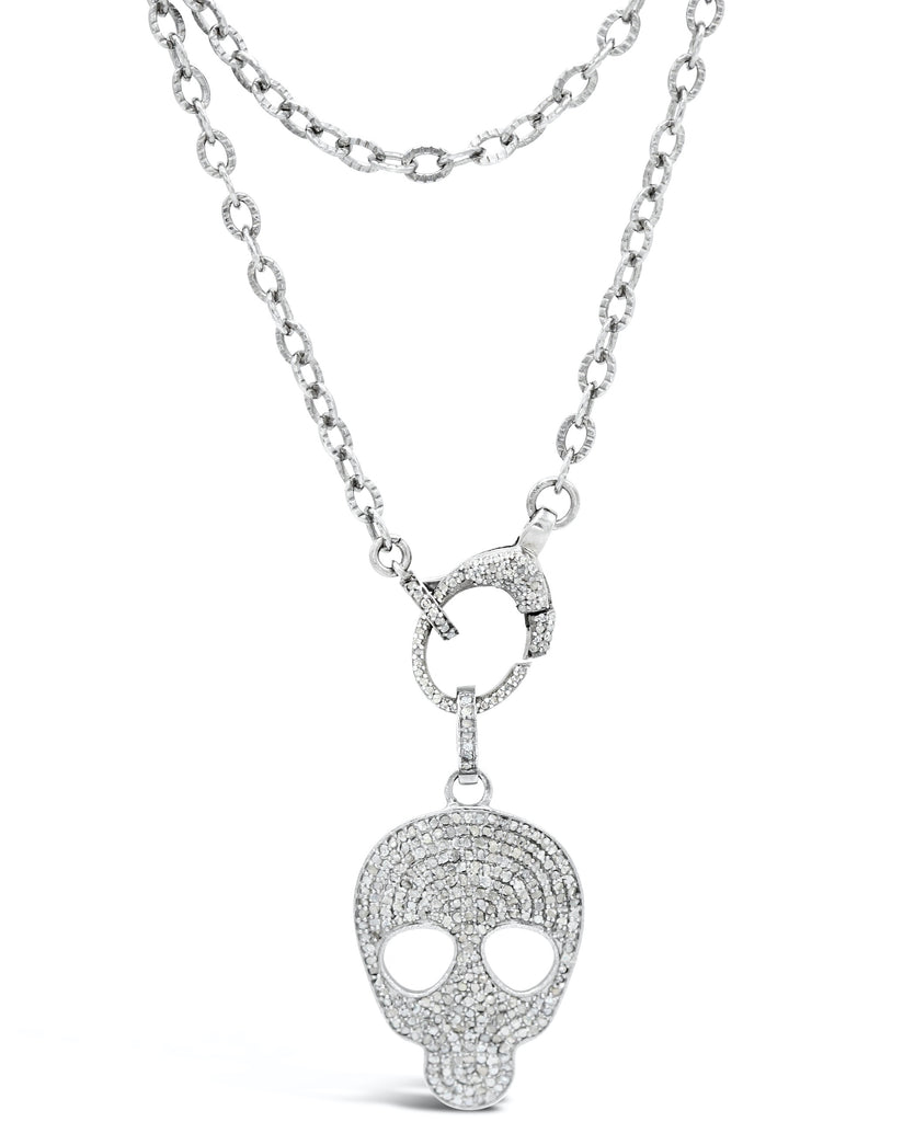 Diamond Skull and Diamond Clasp on Chain Necklace