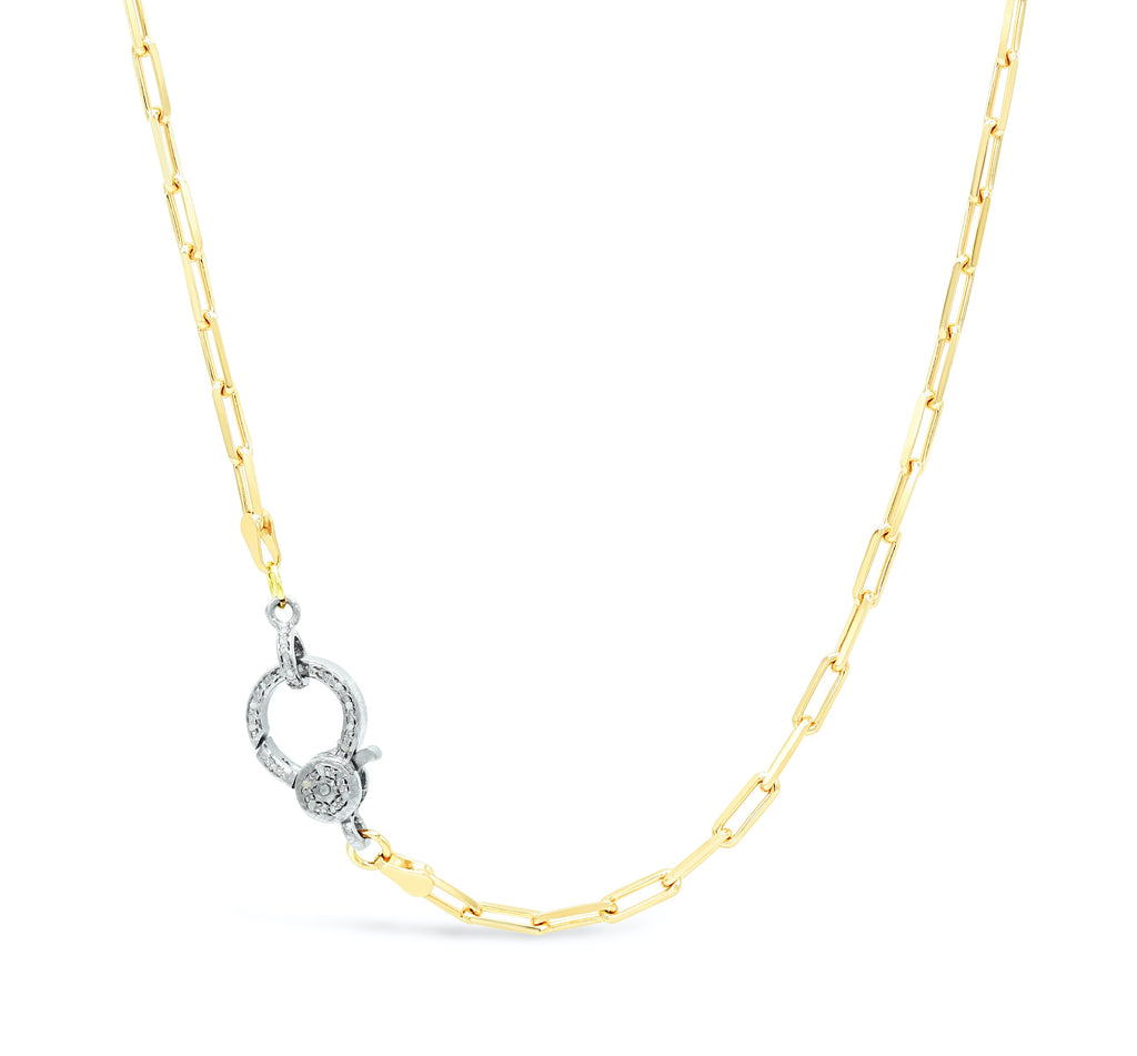 Diamond Clasp on Paper Clip Chain Necklace