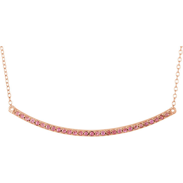 Necklace of 14k Pink Sapphire Bar