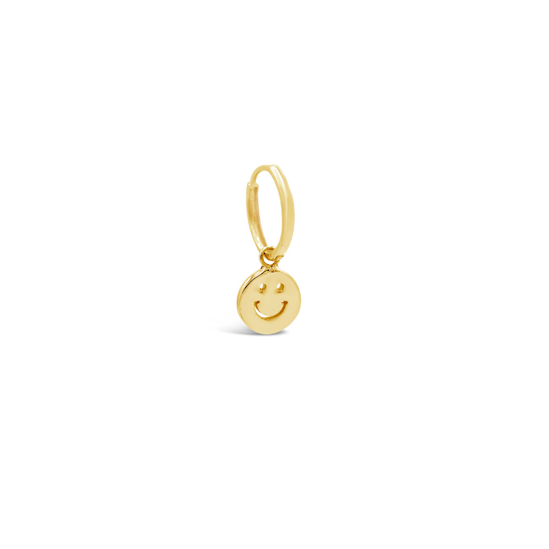 Solitaire Smiley Face Charm Huggie