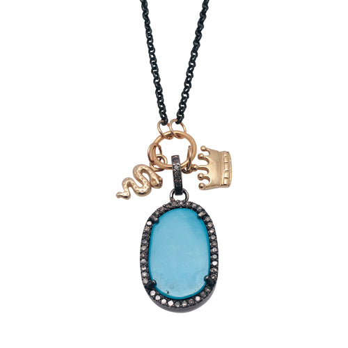 Diamond and Turquoise Pendant Necklace with 14kt Gold Snake and Crown Charms