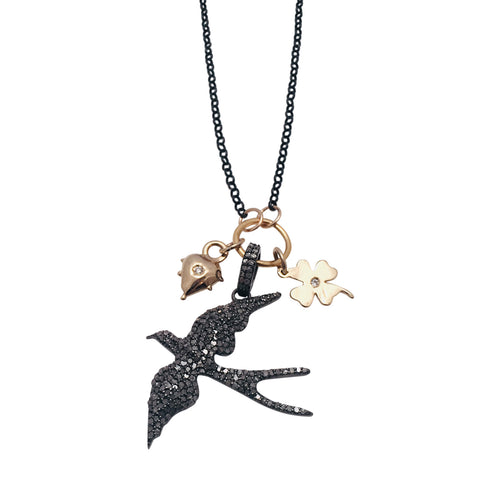 Diamond Swallow In Flight Necklace with 14kt Gold and Diamond Heart and Clover Charms