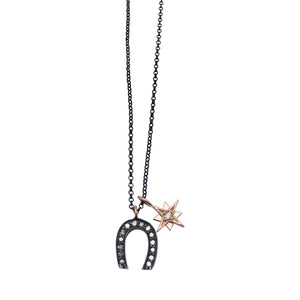 Diamond Horseshoe and Brilliant Diamond 14kt Starburst Charm Necklace