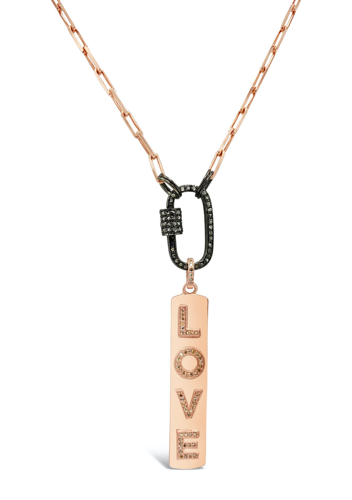 Rose Gold Love Pendant on Diamond Clasp Necklace