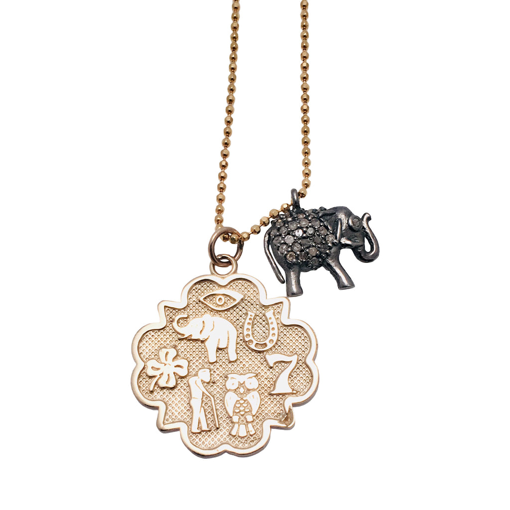 Lucky Charm Necklace in Gold with Seven Charm Gold Medallion Necklace with Diamond Elephant