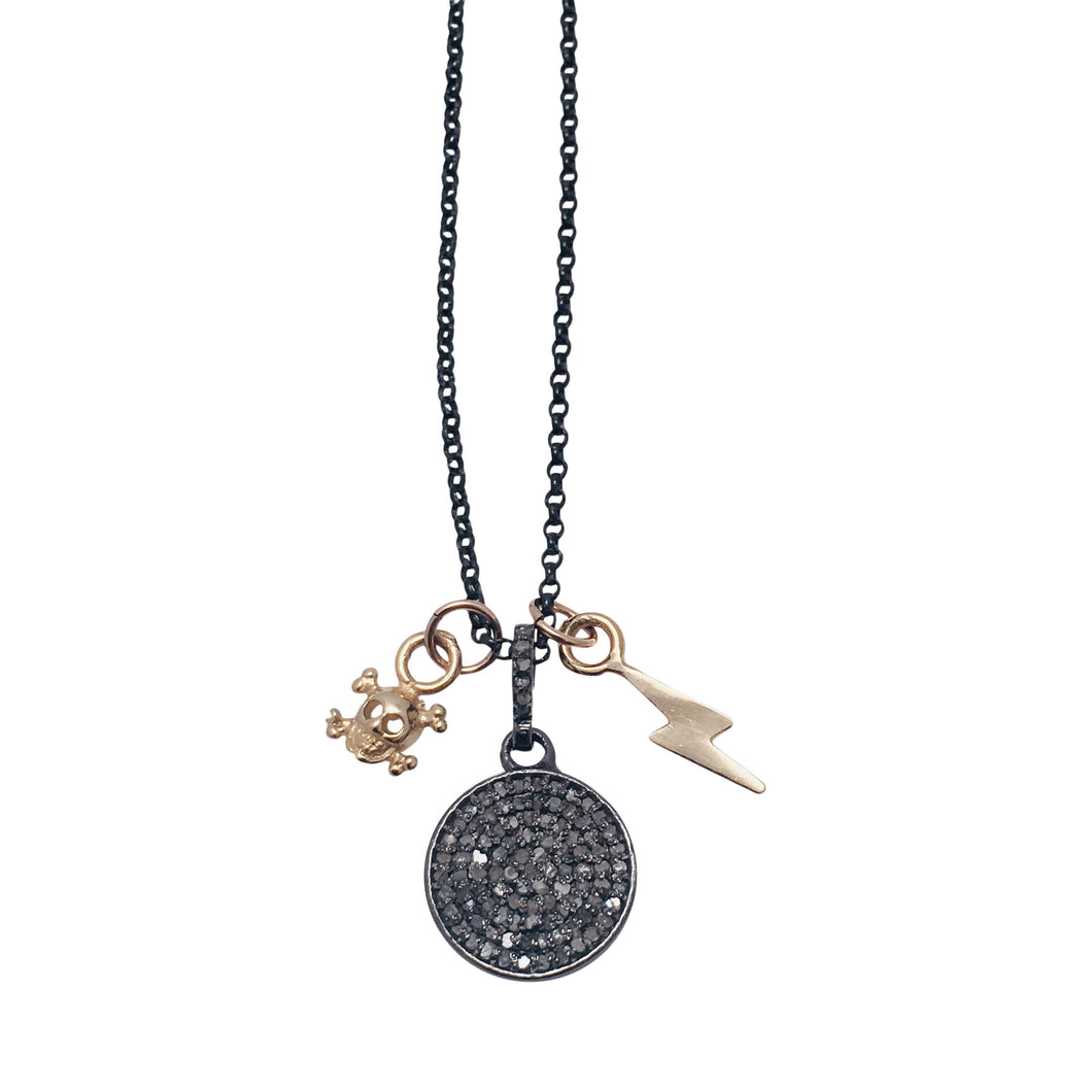 Diamond Pave disc necklace with 14kt Gold skull and 14kt gold lightening bolt charms