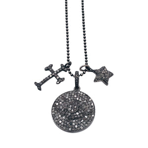 Diamond Multi Charm Necklace with Silver Pave Large Evil Eye Disc with Cross and Star Charms