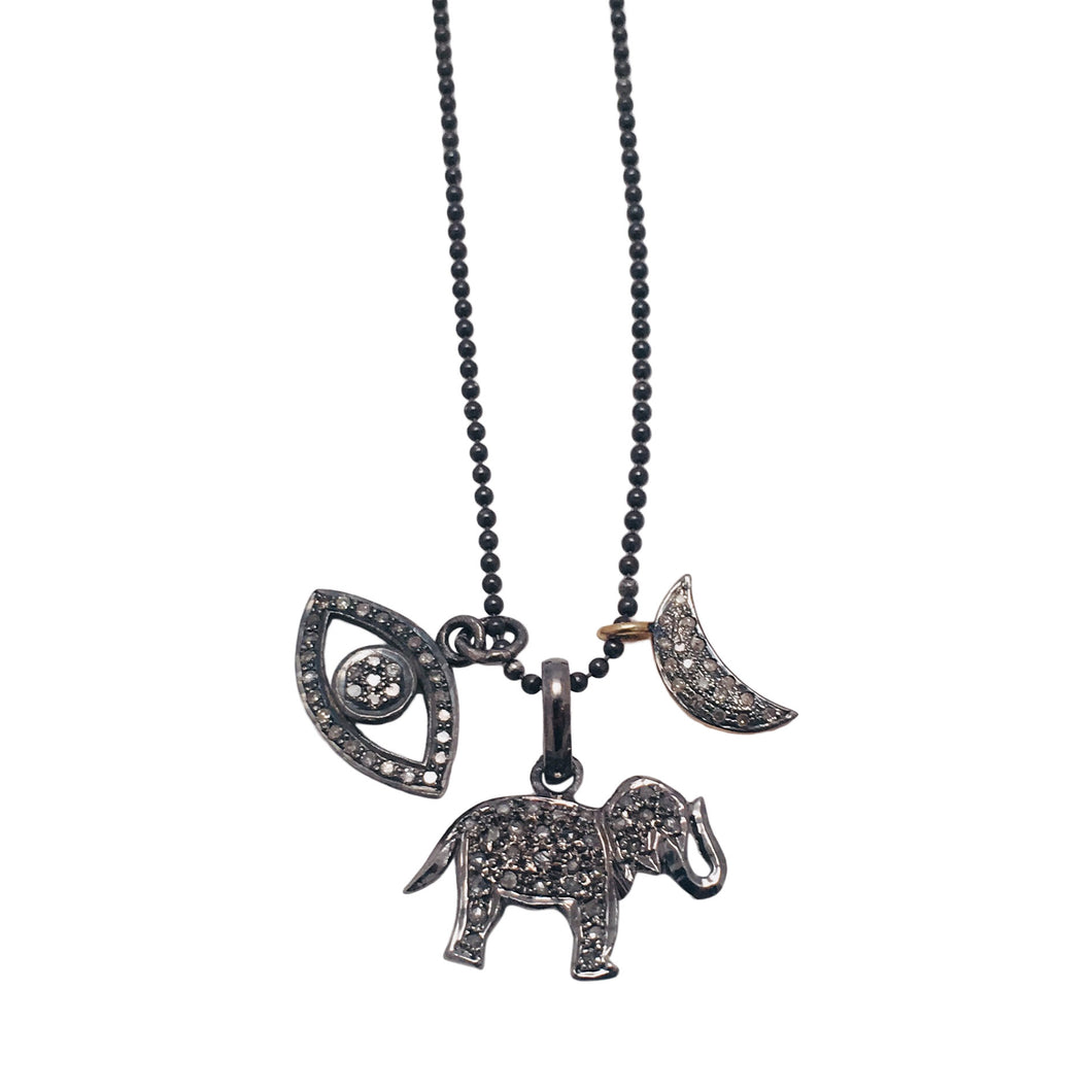 Diamond Pave Charms Necklace with Evil Eye, Elephant and Crescent Moon