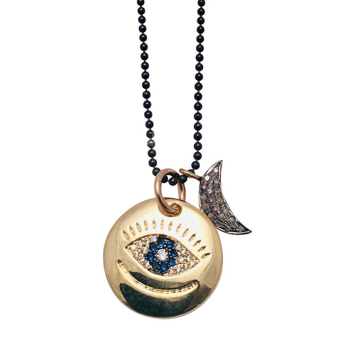 Diamond Crescent charm on silver ball chain with Evil Eye Pendant Charm