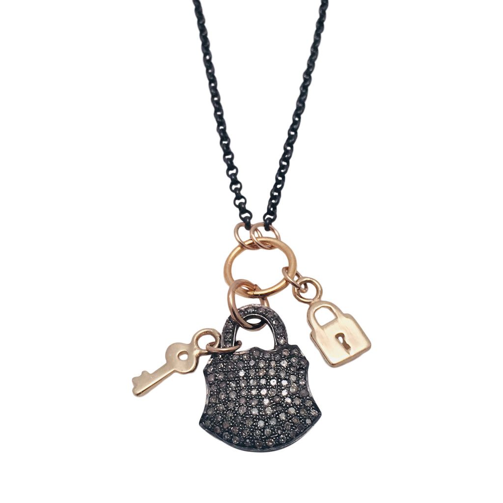 Diamond Pave Lock in Silver with 14kt gold lock and key charms Necklace