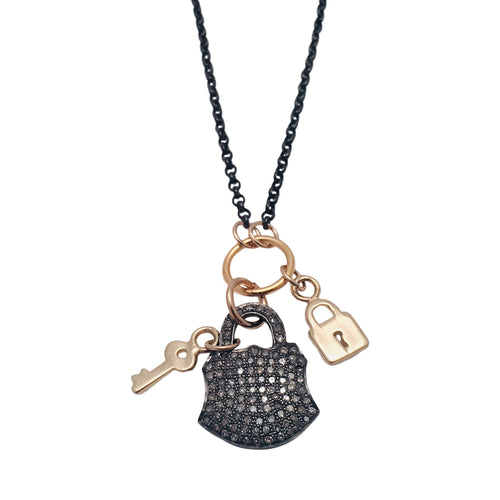 Diamond Pave Lock in Silver with 14kt gold lock and key charms