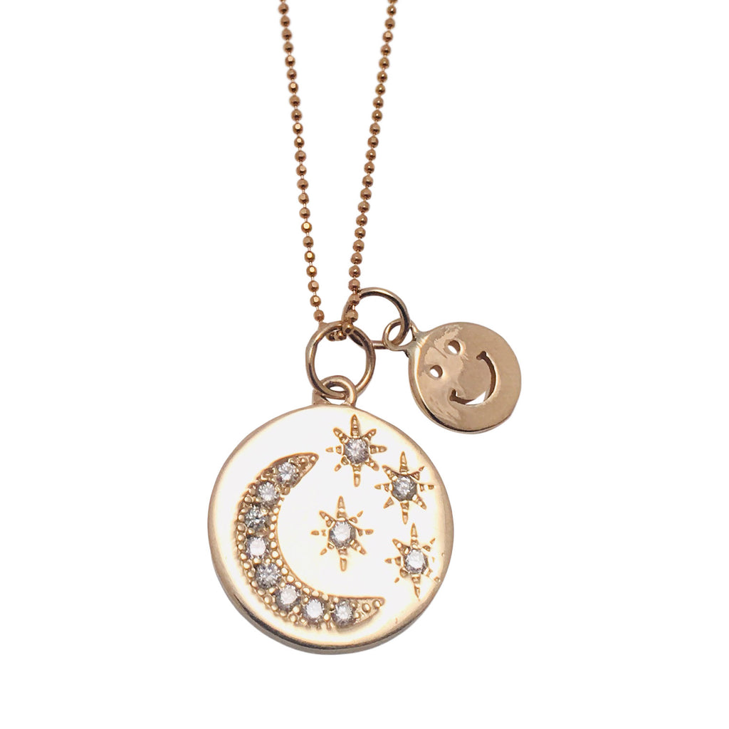 Diamond 14k Gold Medallion with Smiley Face Charm in 14k Necklace