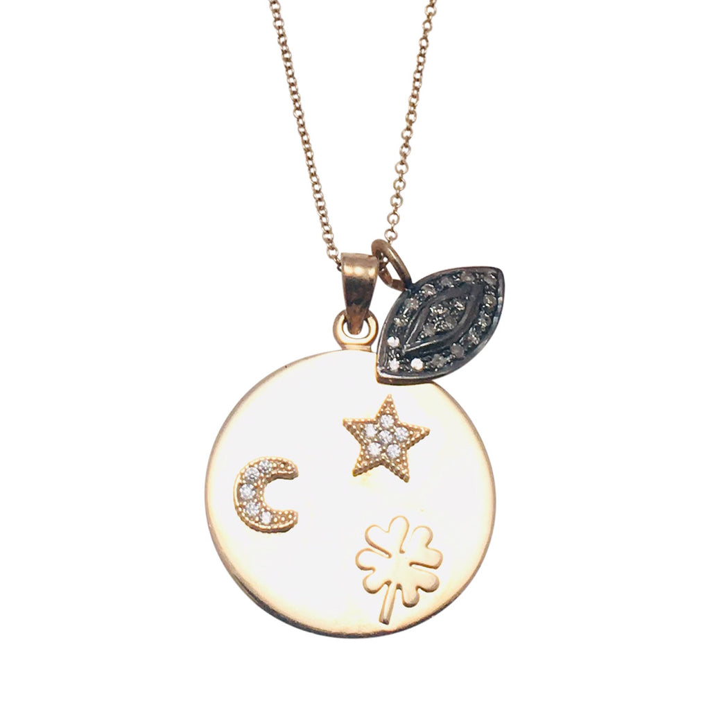 Diamond Pave Evil Eye Charm With 14kt Gold Medallion Necklace