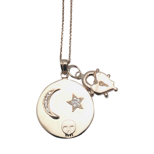 Diamond Set Crescent Moon on 14kt Gold Medallion with 14kt gold Heart Lock charm