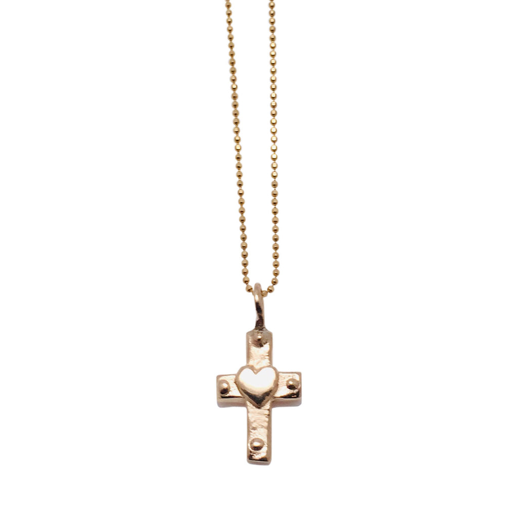 14k Gold Necklace with Heart Cross Charm