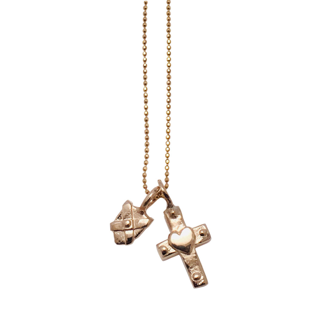 Gold Necklace with Heart Cross charm and mini Gold Shield
