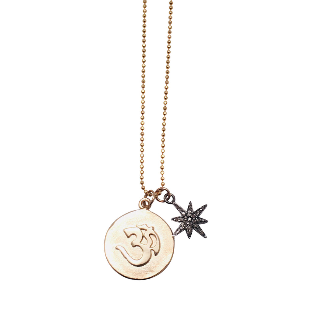 Diamond Starburst charm with 14k Gold OM medallion Necklace