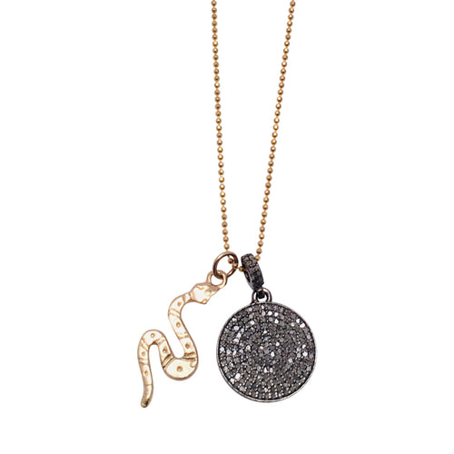 Diamond Disc and 14kt Gold Snake Charm Necklace