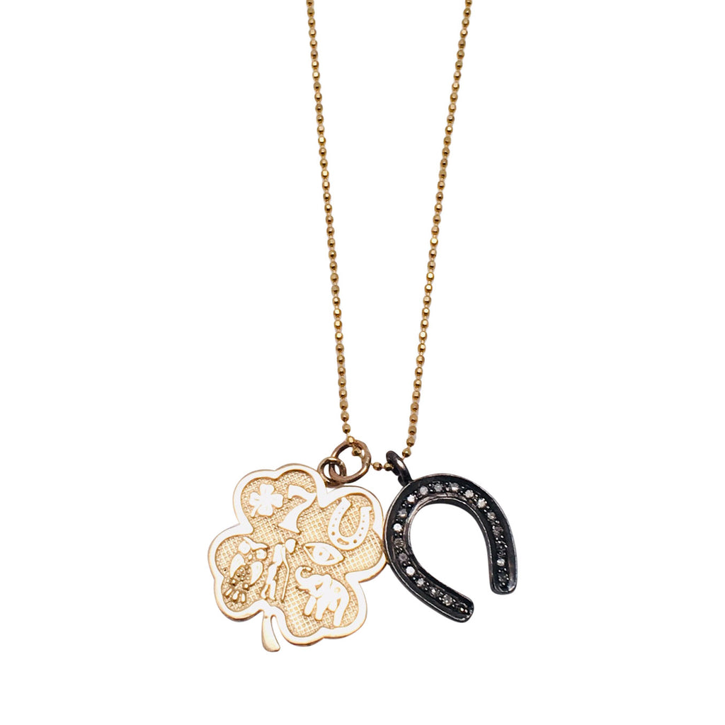 Diamond Horseshoe and 14kt Gold Four Leaf Seven Charms Medallion Necklace
