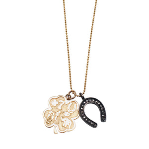Diamond Horseshoe and 14kt Gold Four Leaf Seven Charms Medallion