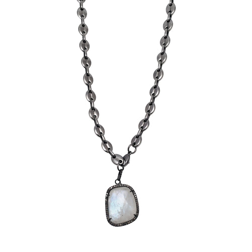 Equestrian Chain Necklace with Moonstone and Diamond Bezel Pendant
