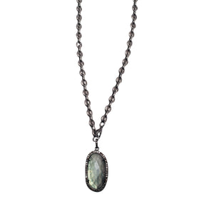 Equestrian Chain Necklace with Faceted Oval Labradorite with Diamond Bezel Pendant