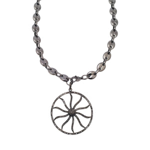 Diamond Pave Open Wheel of Life Necklace on Equestrian Link Chain