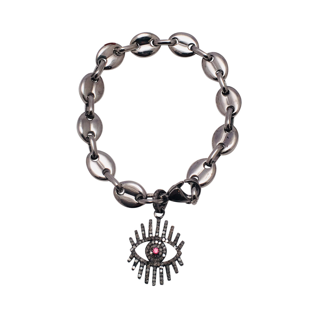 Diamond Evil Eye Charm Bracelet on Equestrian Chain