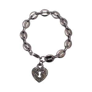 Diamond pave Heart Lock Bracelet