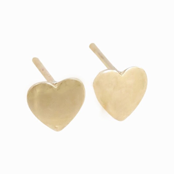 14k Yellow Gold Heart Shaped Studs